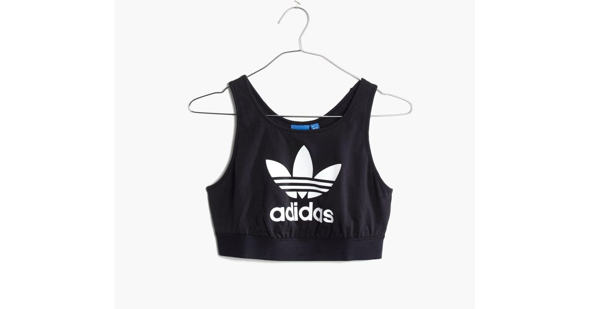 Lyst - Madewell Adidas® Originals Trefoil Crop Top in Black 07758fd83b3c