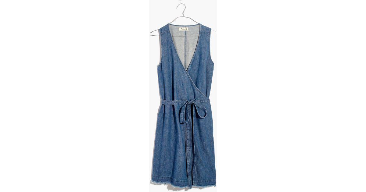 f38800bc50 Lyst - Madewell Denim Raw-hem Wrap Dress in Blue