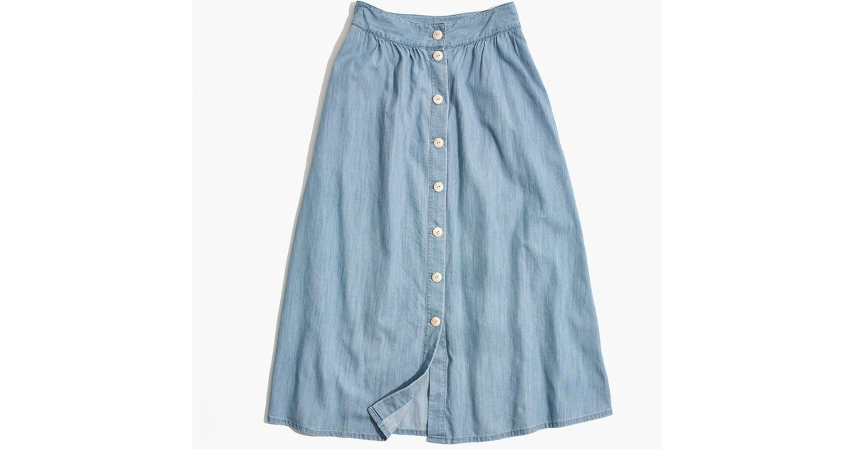 ddc05e3ae8381 Madewell Palisade Button-front Midi Skirt In Indigo in Blue - Lyst