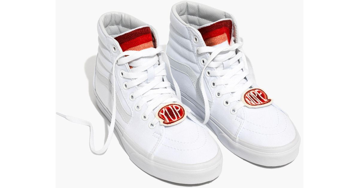 91b21466f8 Madewell X Ft. Lonesometm Embroidered Vans® Unisex Sk8-hi High-top Sneakers  in White - Lyst