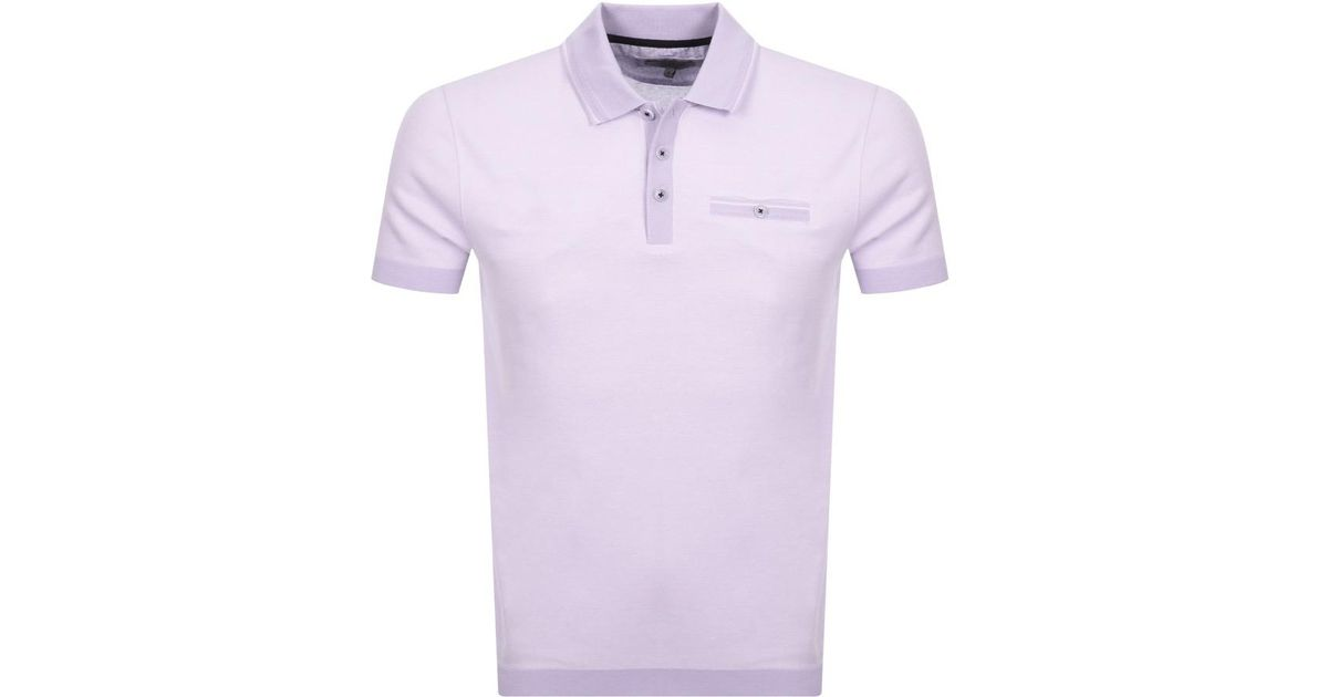 d59e82c6 Ted Baker Rib Detail Cotton Polo Shirt in Purple for Men - Save 41% - Lyst
