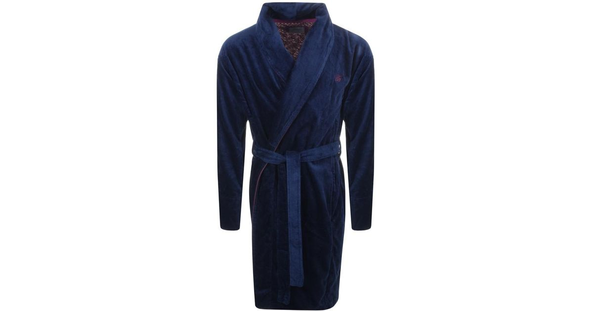 ecfdba69470bf6 Ted Baker Dawlish Wrap Around Dressing Gown Navy in Blue for Men - Lyst