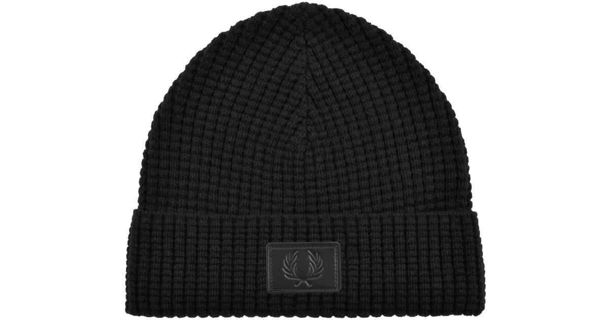 2a9c194b18e Lyst - Fred Perry Waffle Knit Beanie in Black for Men - Save 33%