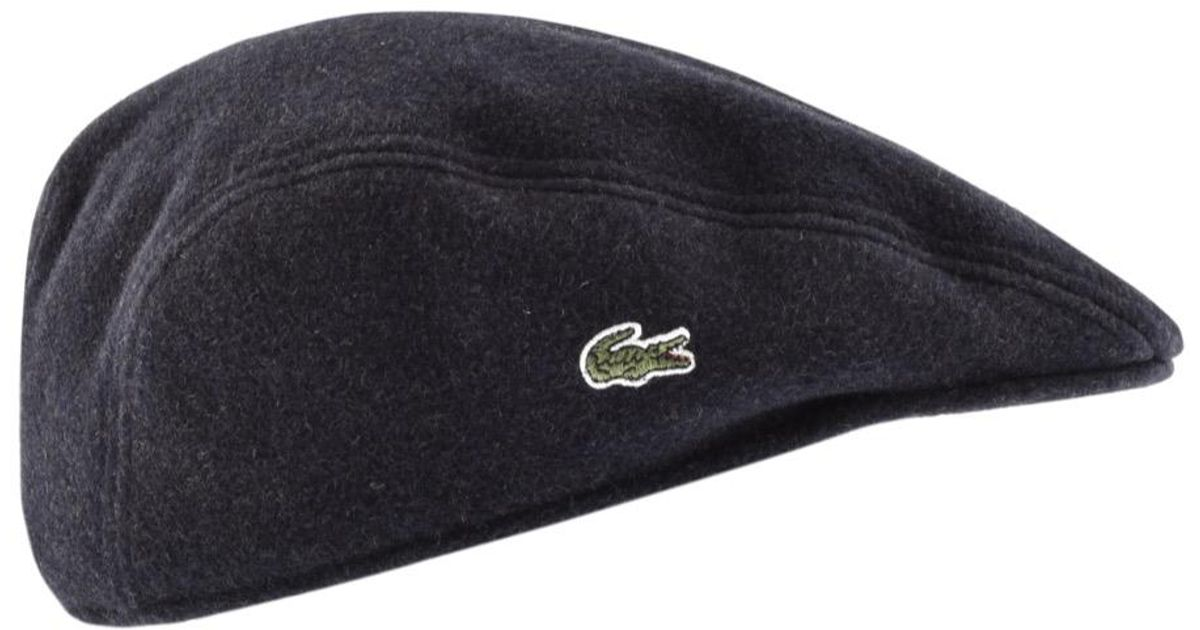 376878adc Lacoste Wool Flat Cap Navy in Blue for Men - Lyst
