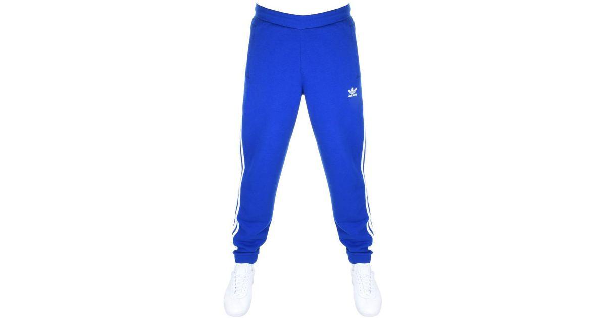 Lyst - adidas Originals 3 Stripes Jogging Bottoms Blue in Blue for Men 54395a612128
