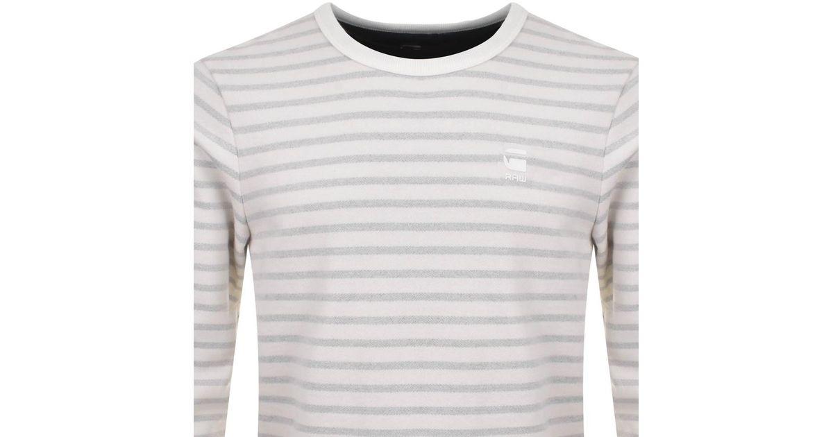 2abb4be1fb G-Star Raw Prebase Striped Sweatshirt Cream in Natural for Men - Lyst