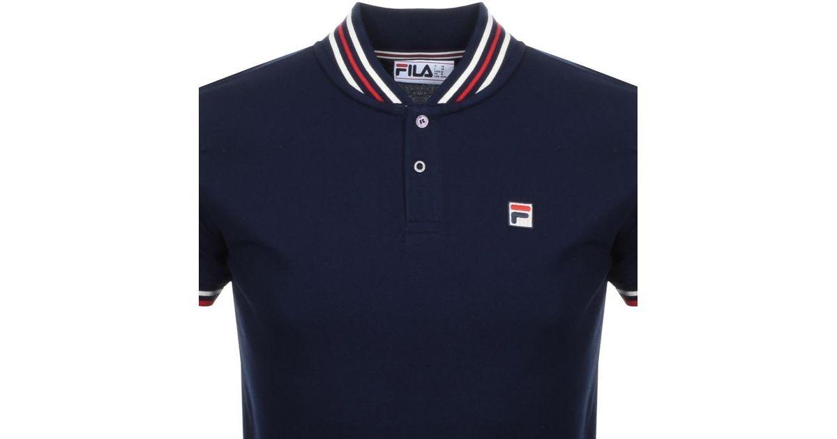 Fila Vintage - Blue Skipper Yd Rib Collar T Shirt Nvay for Men - Lyst