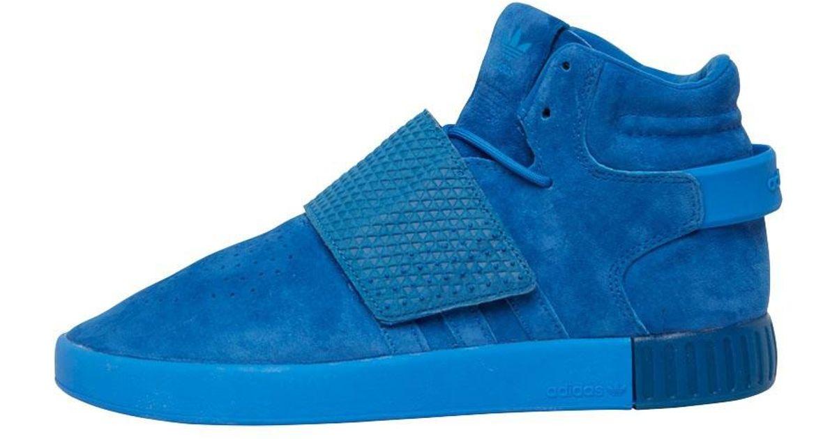 6873b41707b4 adidas Originals Tubular Invader Strap Trainers Blue in Blue for Men - Lyst