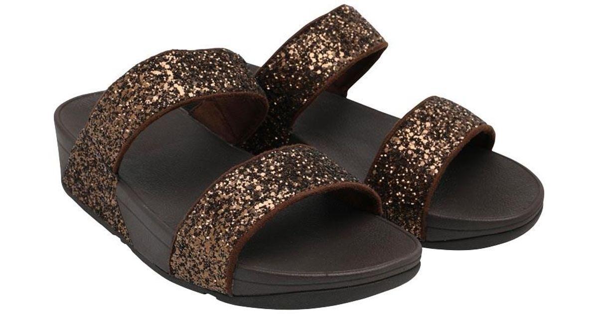 d48c9fd665ba00 Fitflop Glitterball Slide Sandals Bronze - Lyst