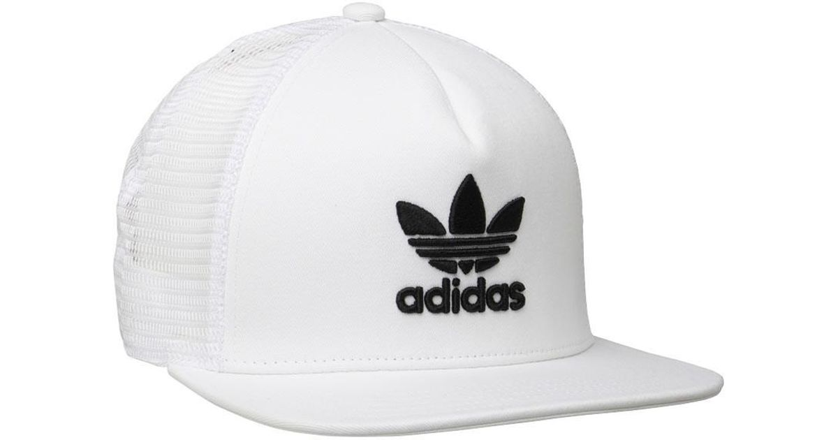 adidas Originals Trefoil Trucker Snapback Cap White black in White for Men  - Lyst dcceee283eca