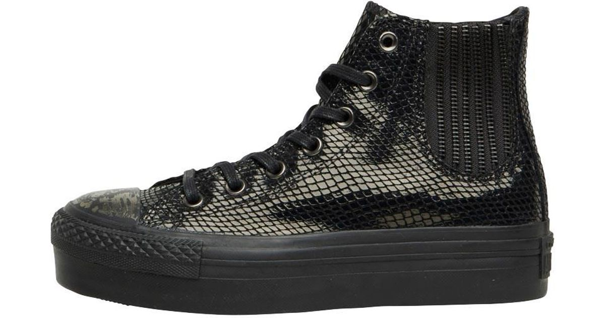 92c7e3d217b2 Converse Ct All Star Hi Platform Chelsea Snakeskin Trainers Black in Black  - Lyst