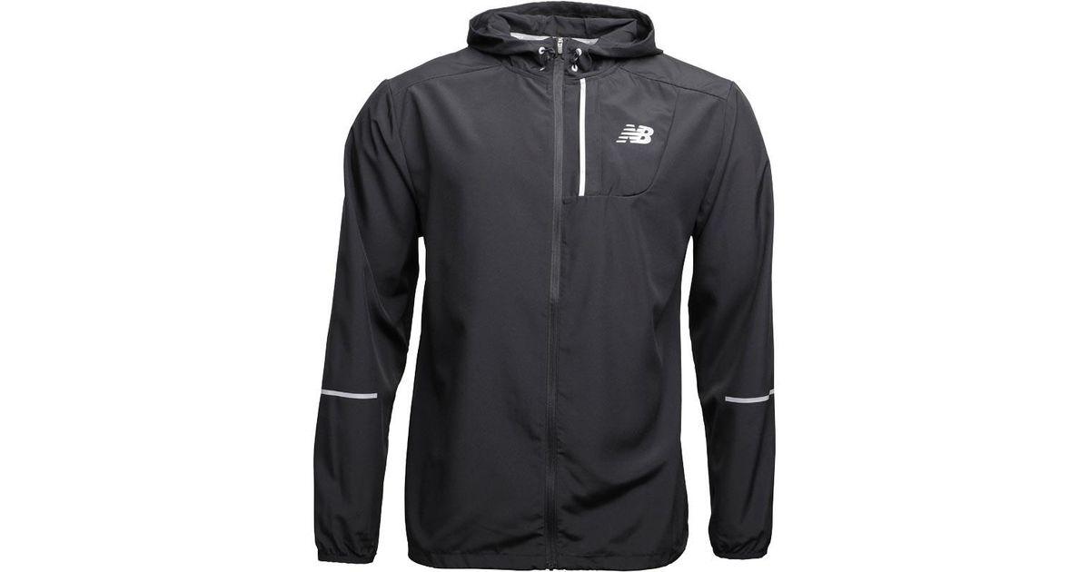 New Balance Lightweight Water Resistant Hooded Running Jacket Black
