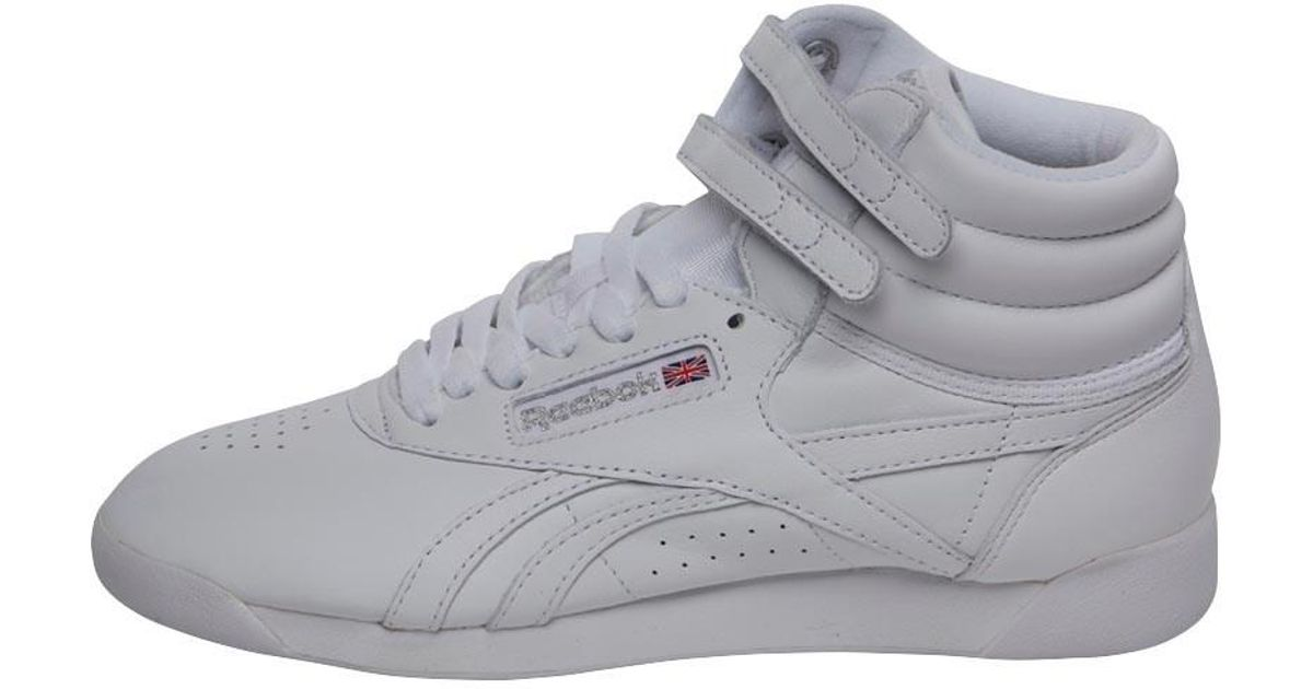 d24117c0343 Reebok Freestyle Hi Og Lux Trainers White grey gold excellent Red in White  - Lyst