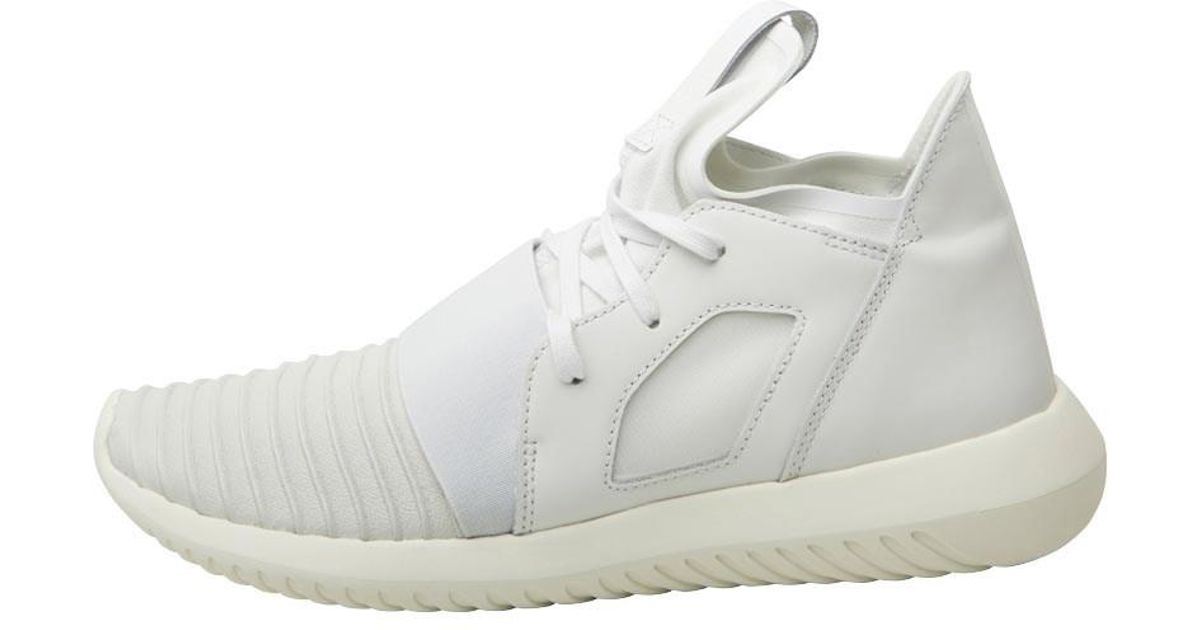 sports shoes 40935 fd39d adidas Originals Tubular Defiant Trainers Crystal White crystal White off  White in White - Lyst