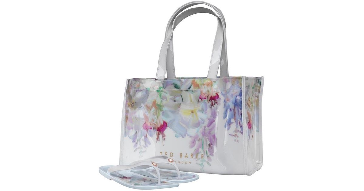 71b0ce8e6 Ted Baker Ferrian Hanging Garden Icon Bag And Flip Flops White in White -  Lyst
