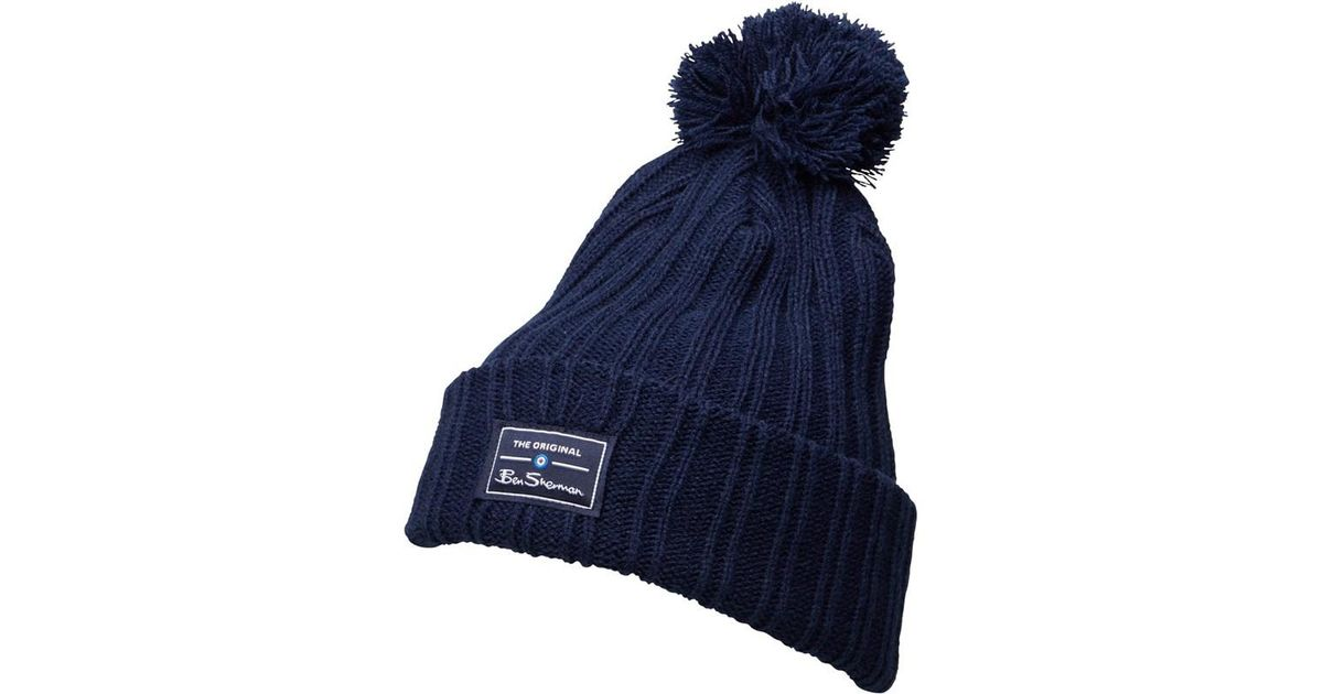 2a1feada6df Ben Sherman Mccree Bobble Hat Navy in Blue for Men - Lyst