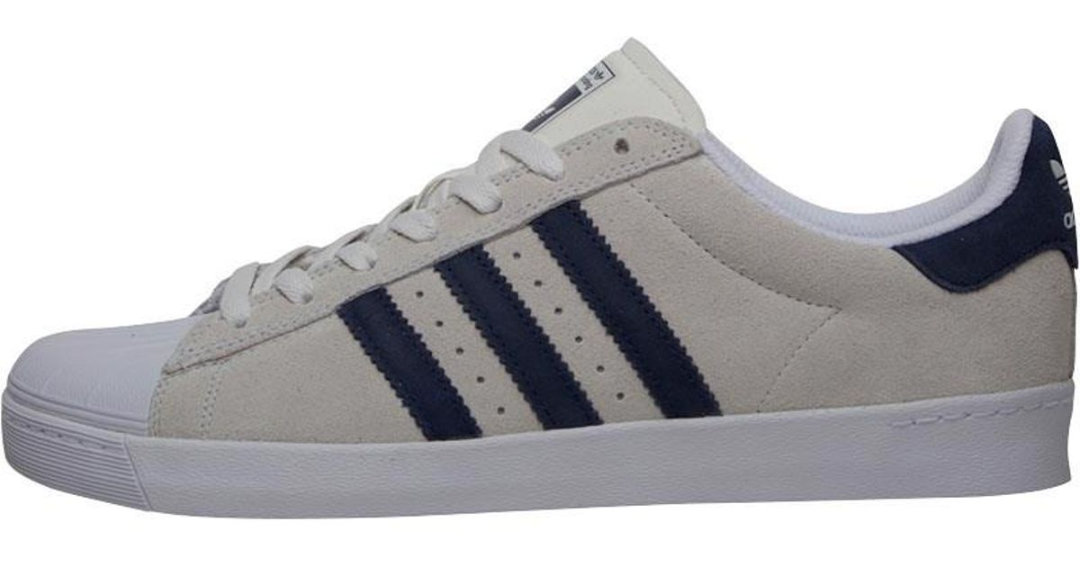 hot sale online f6453 69a95 adidas Originals Skateboarding Superstar Vulc Adv Trainers Crystal White collegiate  Navy white in White for Men - Lyst