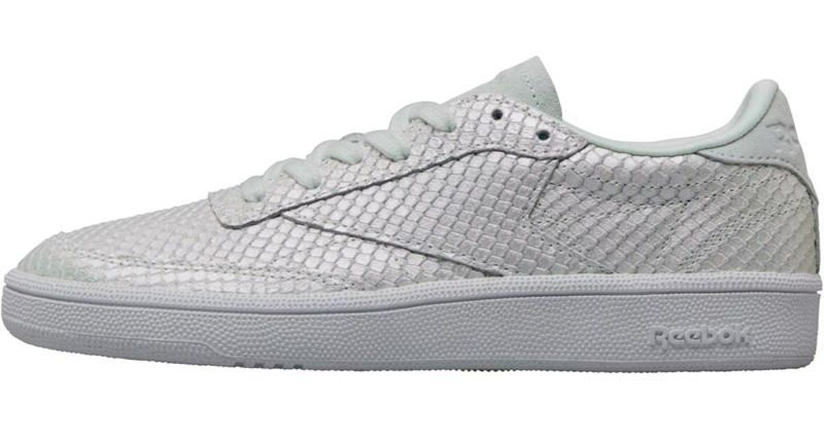 12d40793182a Reebok Club C 85 Hype Textural Trainers Cloud Grey white iridescent in Gray  - Lyst