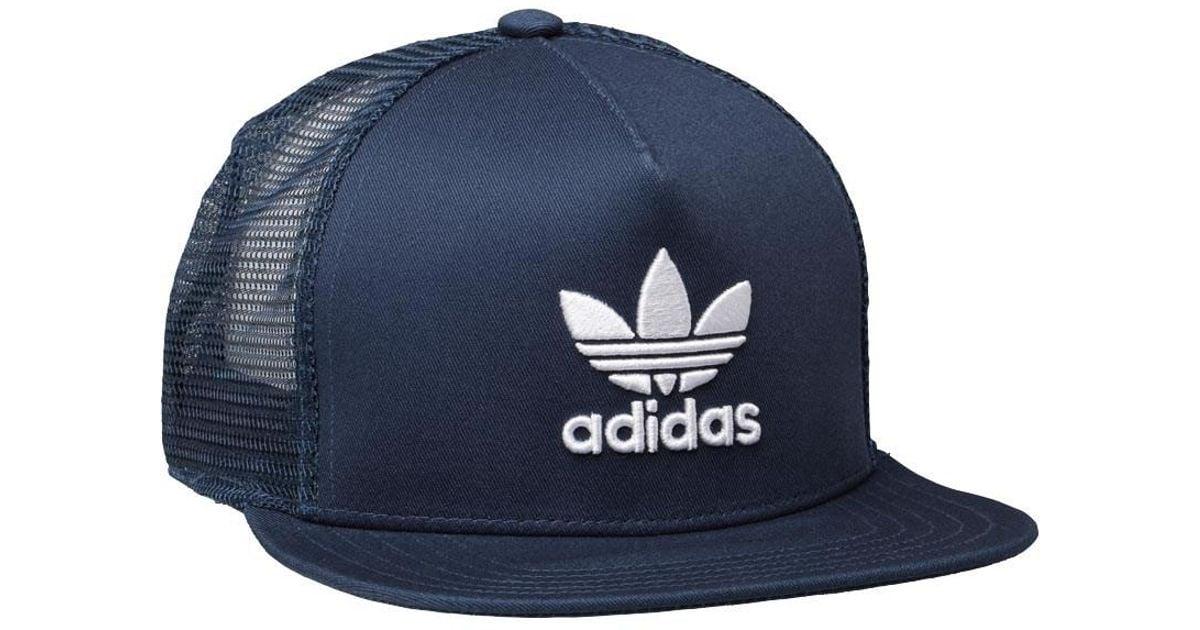 adidas Originals Trefoil Trucker Cap Rich Blue white in Blue for Men - Lyst 87006a3837b6