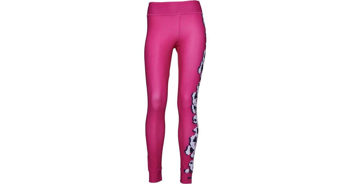 4b0113f102f Adidas X Stella Mccartney Yoga Flower Tights Shock Pink/bright Red in Pink  - Lyst