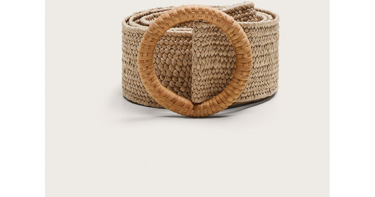8efa8903 Violeta by Mango Raffia Buckle Belt in Natural - Lyst