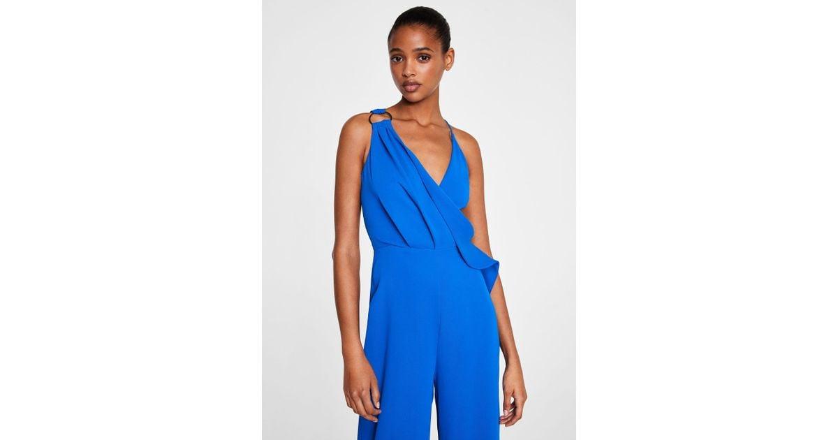 0d243582ec Mango Ring Wrap Jumpsuit in Blue - Lyst