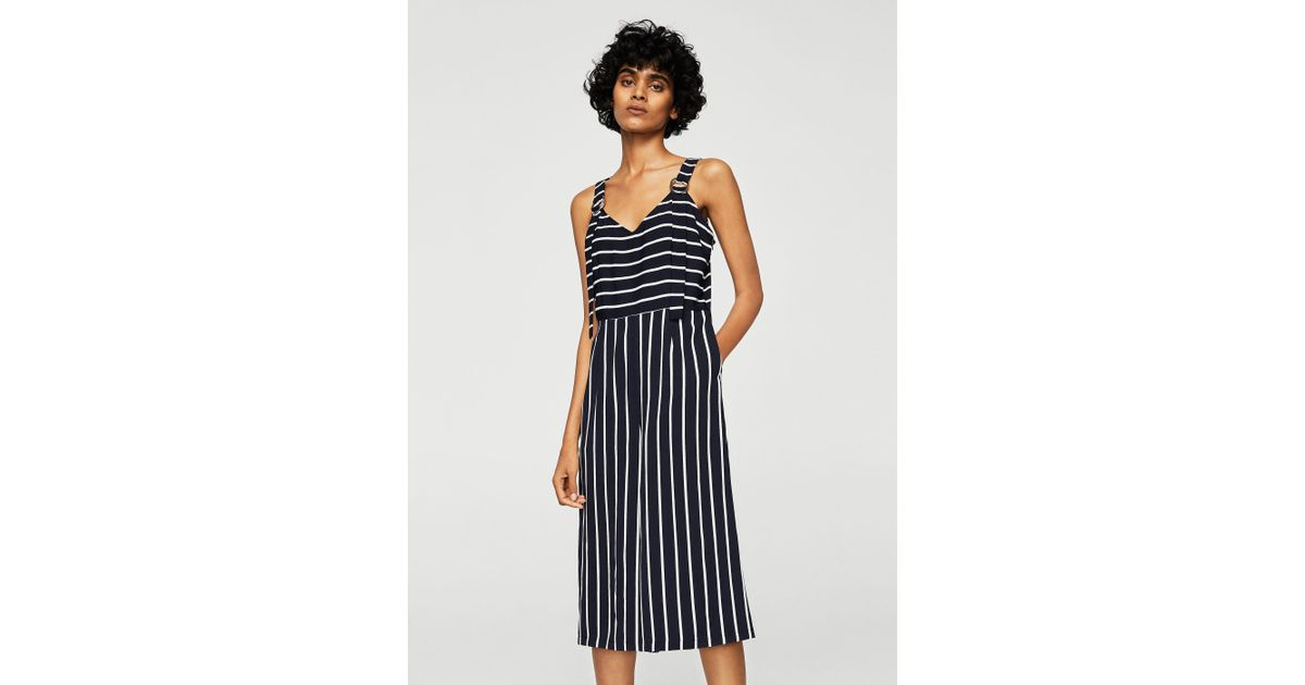 641690389379 Lyst - Mango Cropped Striped Jumpsuit in Blue