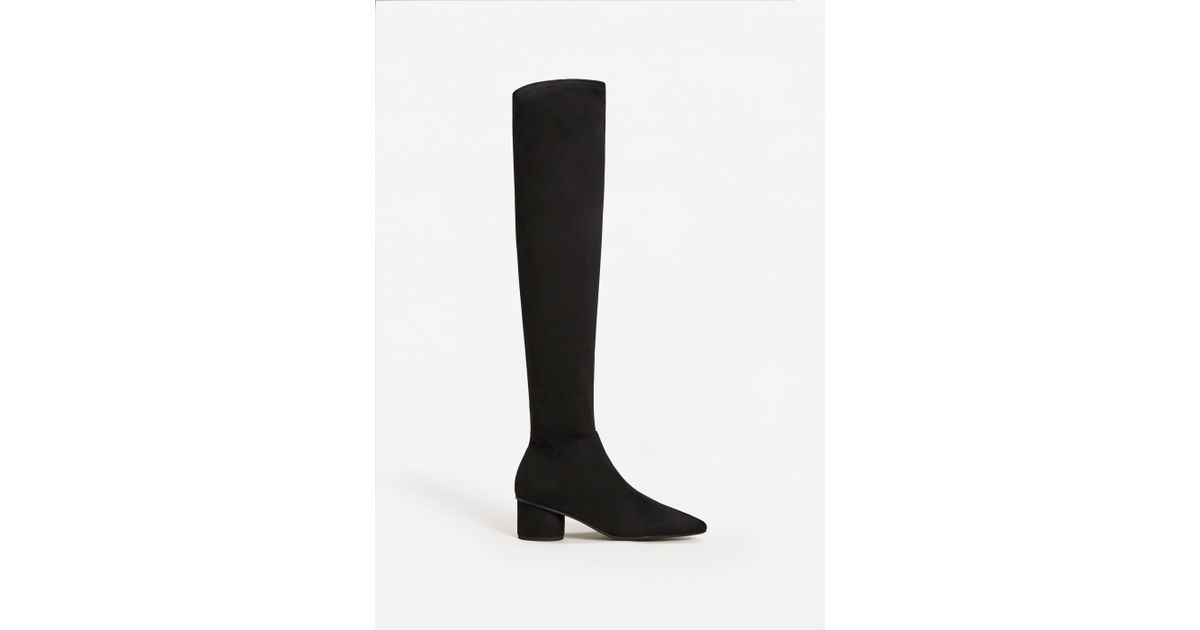 38df344c09f Lyst - Mango Over The Knee Heel Boots in Black