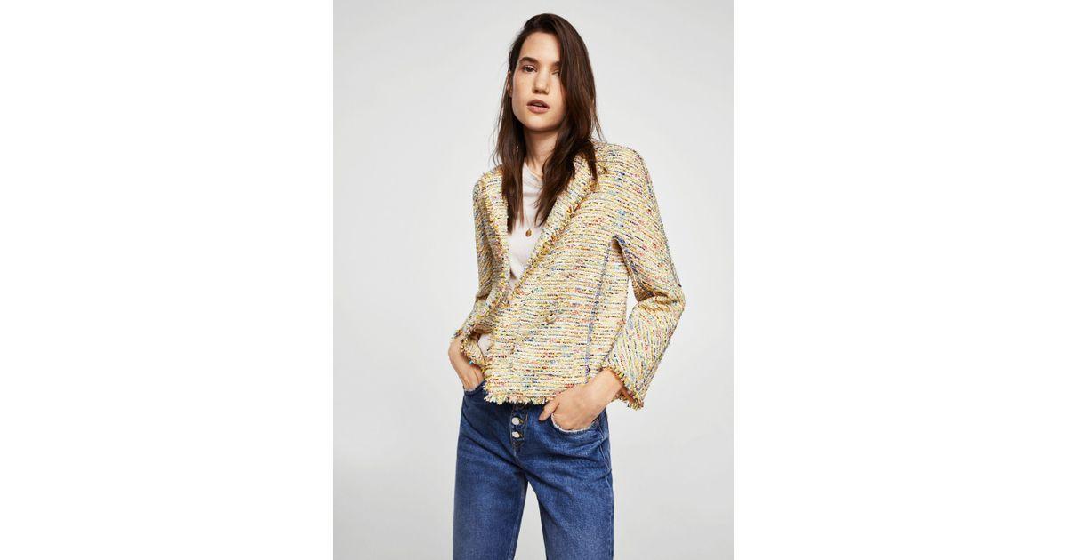 Lyst - Mango Trim Tweed Jacket in Yellow a9d5c4eb0894