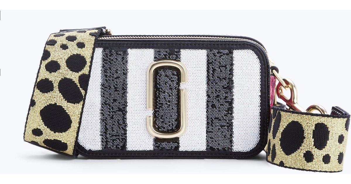 2c6a95d88c65 Lyst - Marc Jacobs Sequin Striped Snapshot Small Camera Bag in Black