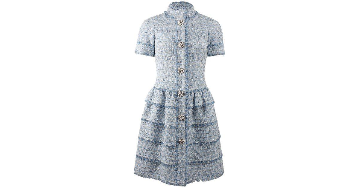 Lyst Oscar De La Renta Short Sleeve Collared Tweed Dress In Blue
