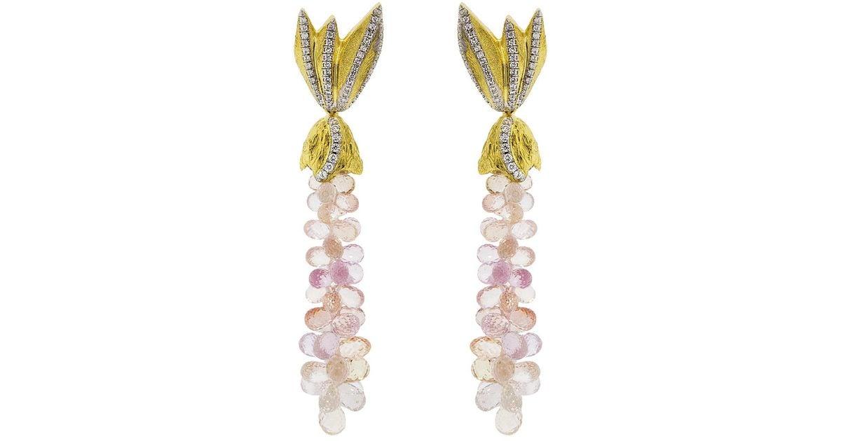 Syna 18kt Peach Moonstone Cobblestone Diamond Earrings 2hhmPI0b