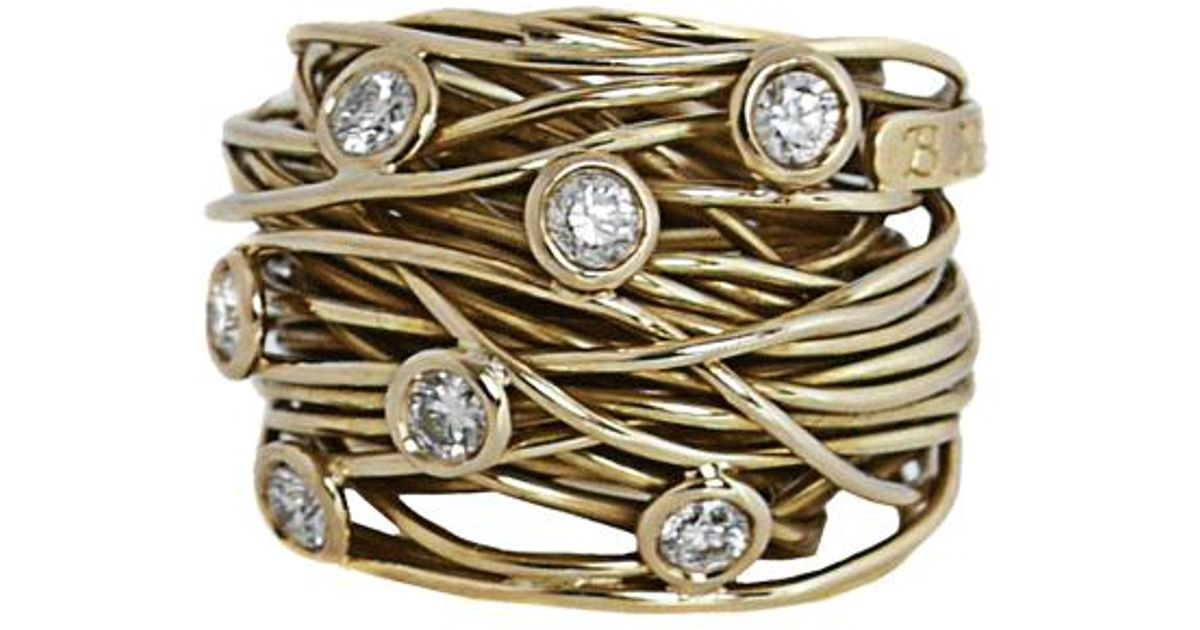 boaz kashi large wire diamond ring in metallic lyst