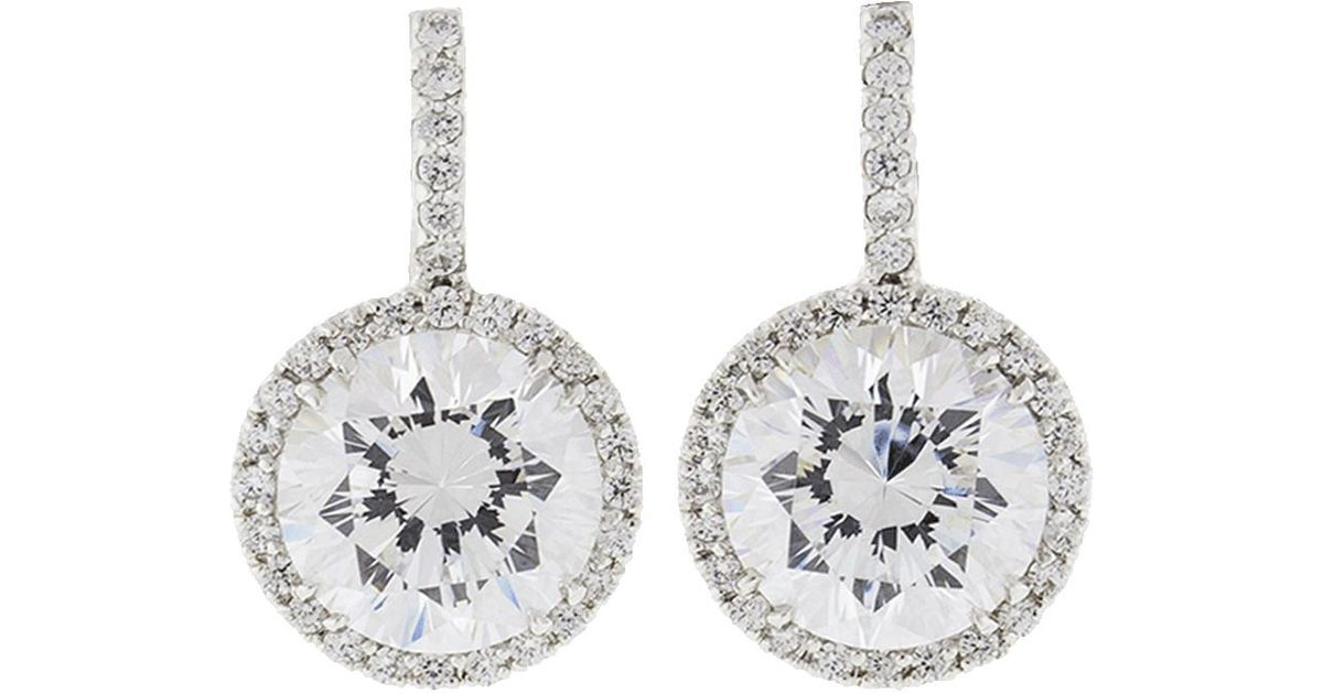 bc96ad272 Fantasia Jewelry Pave Solitaire Drop Earrings in Metallic - Lyst