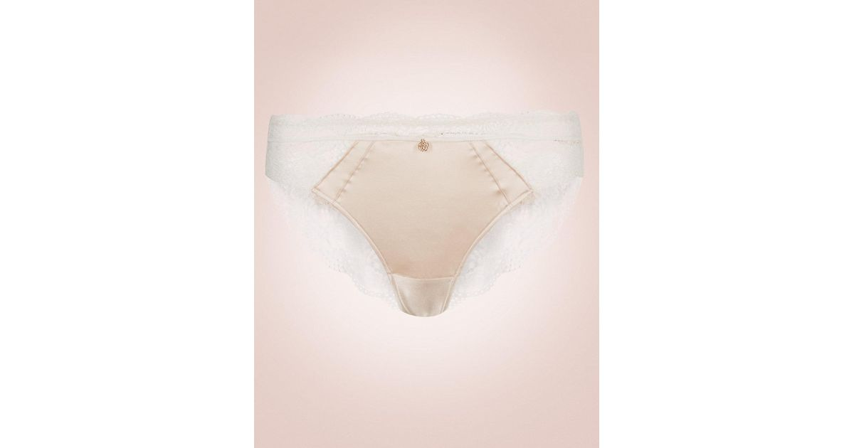 ffc12d6ab4 Marks   Spencer Silk   Lace Brazilian Knickers in Natural - Lyst