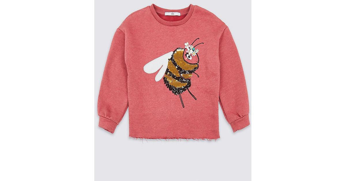424714ea Lyst - Marks & Spencer Cotton Rich Bee Sequin Sweatshirt (3-16 Years) in  Pink
