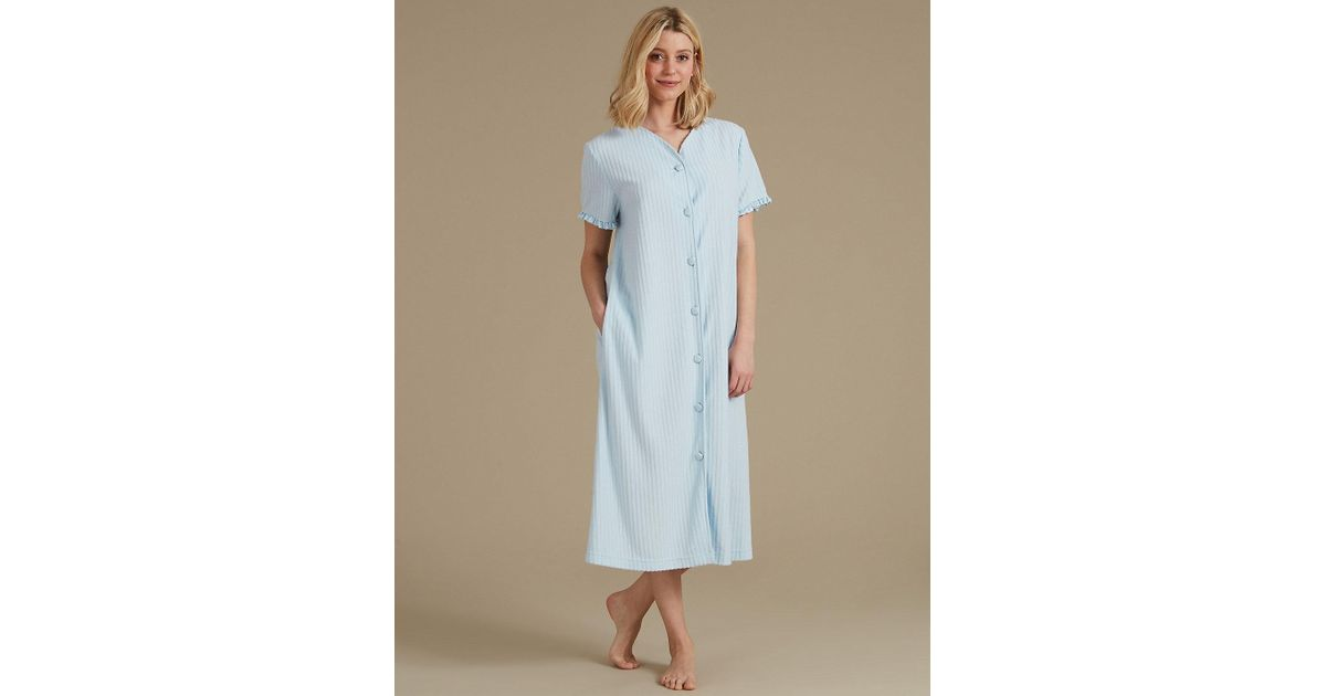 Lyst - Marks & Spencer Striped Short Sleeve Dressing Gown in Blue