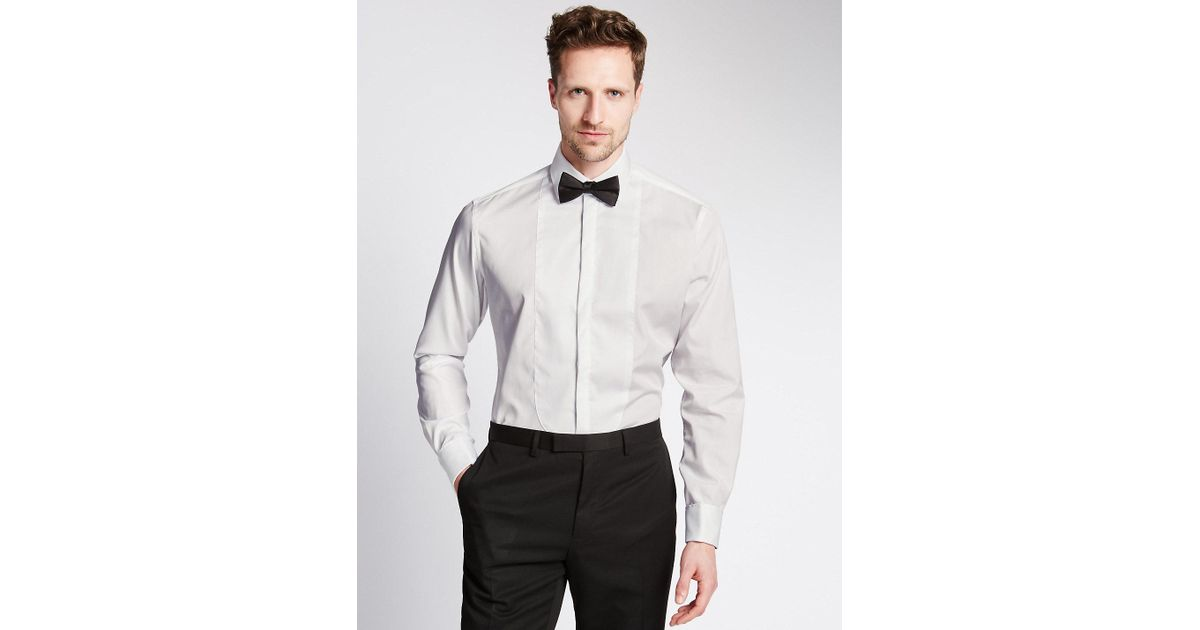 0e055dbb05a Lyst - Marks   Spencer Pure Cotton Tailored Fit Dinner Shirt in White for  Men
