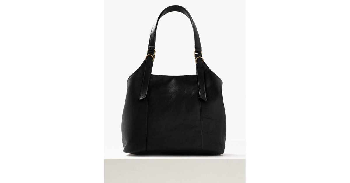 1bf629ba Marks & Spencer Leather 3 Compartment Hobo Bag in Black - Lyst