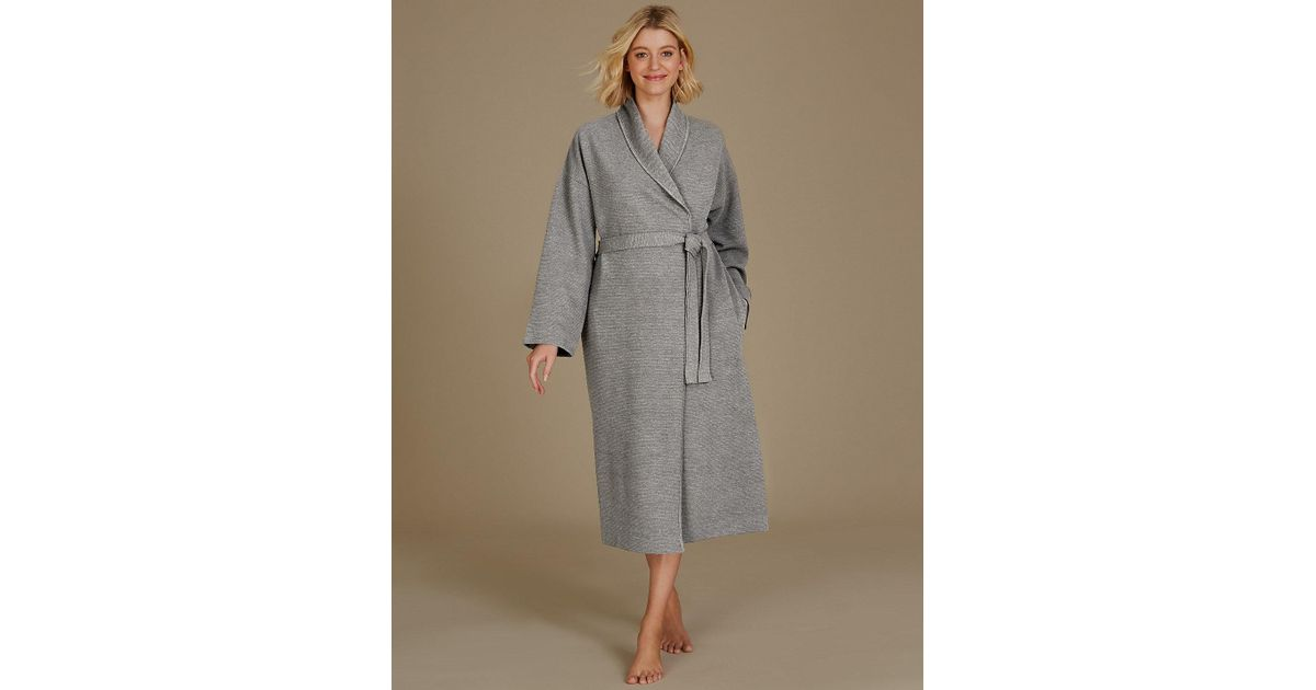 b35812ba99 Lyst - Marks   Spencer Textured Ribbed Waffle Dressing Gown in Gray