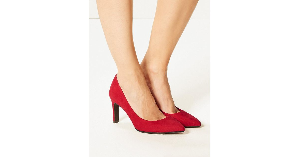65110a4a2c5 Marks & Spencer - Red Wide Fit Stiletto Heel Pointed Court Shoes - Lyst