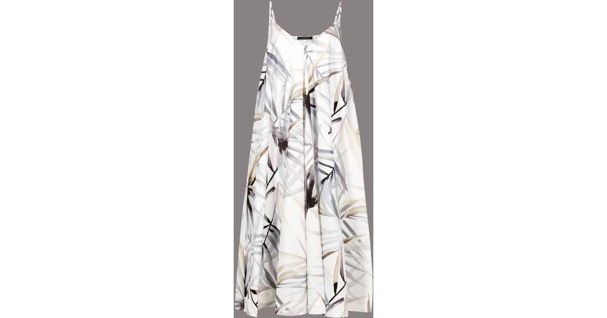 bec4835ecad69 Marks & Spencer Pure Cotton Floral Print Swing Midi Dress in White - Lyst