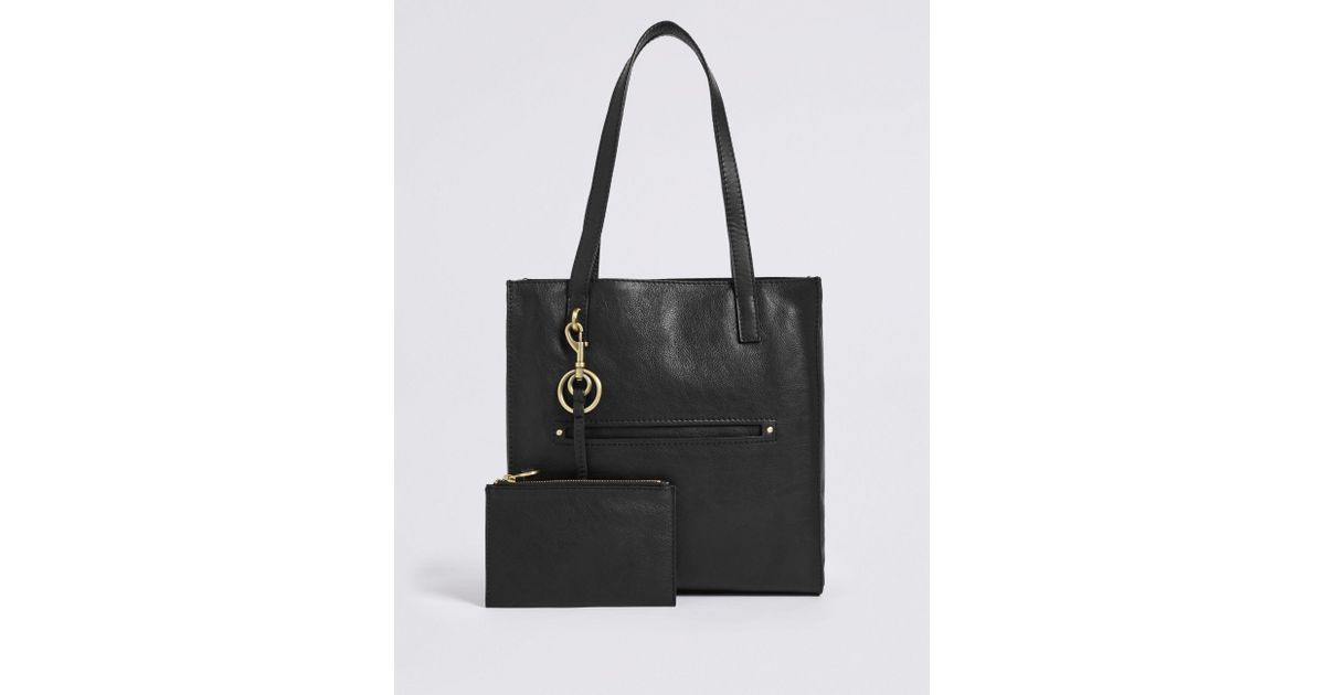 894d24cd6925 Marks   Spencer Leather 3 Compartment Tote Bag in Black - Lyst