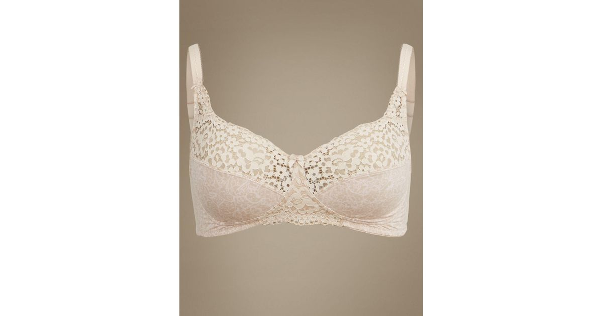 01217cdb1c680 Marks   Spencer Vintage Lace Cotton Rich Full Cup Bra A-dd in Natural - Lyst