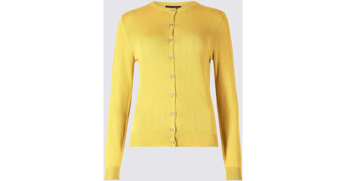 3da1a4815b2 Marks   Spencer Petite Round Neck Cardigan in Yellow - Lyst