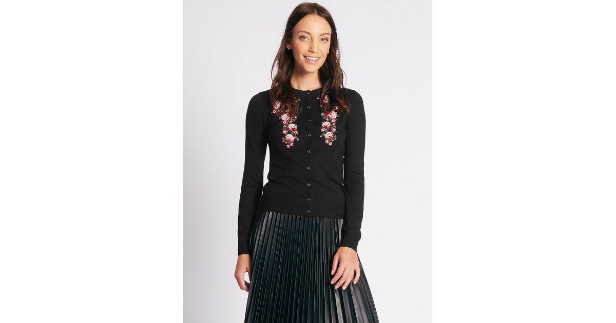 Lyst marks spencer floral embroidered cardigan in black