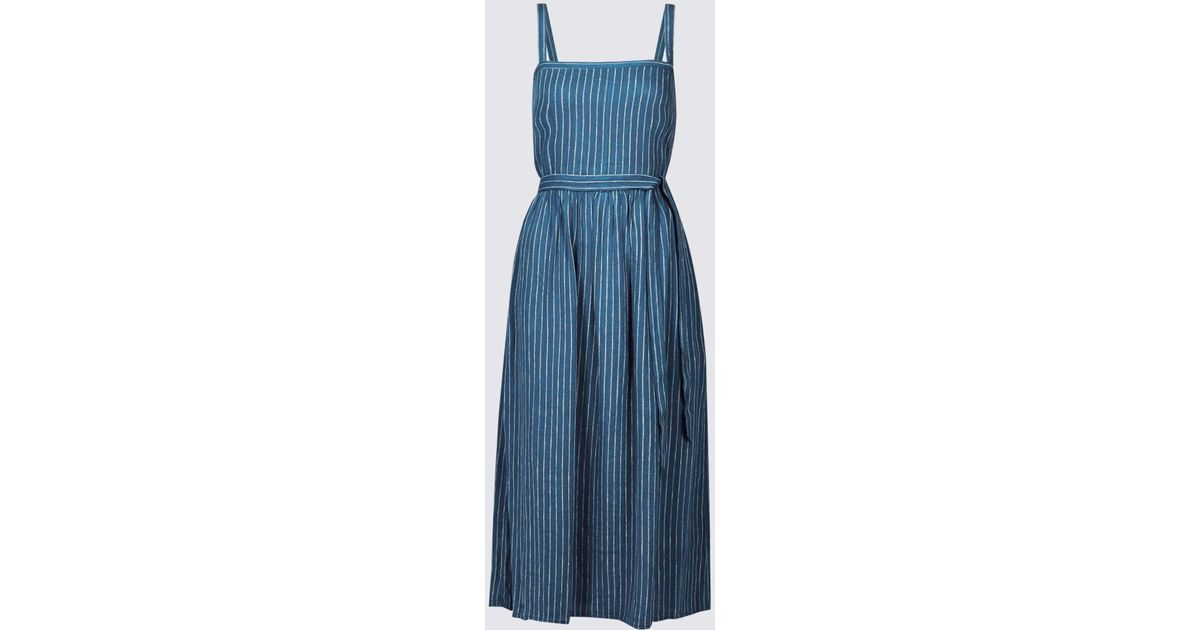 56139ed1ea Marks   Spencer Linen Blend Striped Skater Midi Dress in Blue - Lyst
