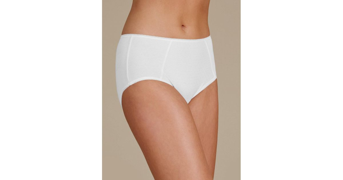 d9f72415f0de2b Marks & Spencer 5 Pack Cotton Rich Midi Knickers in White - Lyst