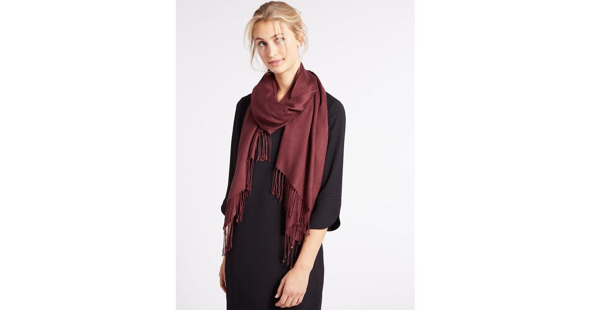 31749f6f8 Marks & Spencer Modal Rich Pashminetta Scarf in Red - Lyst
