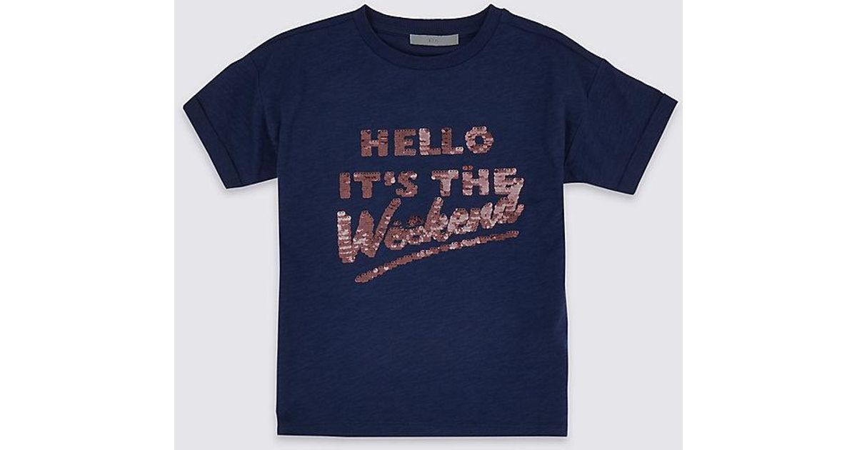 0e2f3c07fbd Marks   Spencer. Women s Blue Pure Cotton Hello Weekend T-shirt (3-16 Years)